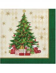 Weihnachtsservietten Heiligabend 16 Stück grün-bunt 25x25cm