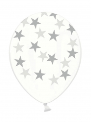 Stern-Ballons 6 Stück transparent-grau 30cm