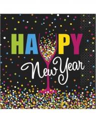 Kunterbunte Silvester-Servietten Happy New Year 20 Stück schwarz-bunt 33x33cm