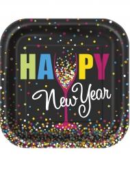 Kunterbunte Silvester-Teller Happy New Year 20 Stück schwarz-bunt 33x33cm