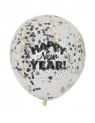 Silvester-Luftballons Happy New Year Konfetti-Ballons 6 Stück schwarz-silber-gold 31cm
