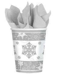 Weihnachtsbecher Schneeflocken-Motiv 8 Stück weiss-grau 266ml