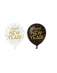 Silvester Luftballons Happy New Year 6 Stück weiss-schwarz-gold