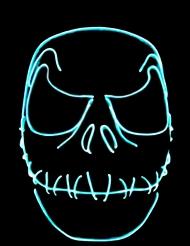 UV Halloween-Maske Zombie mit zugenähtem Mund blau