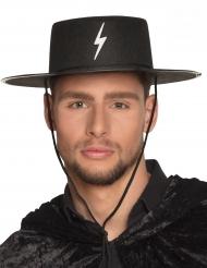 Maskierter Gerechtigkeitskämpfer Hut für Erwachsene schwarz-weiss