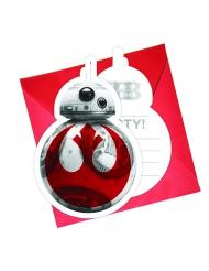 Star Wars: Die letzten Jedi™ Einladungskarten und Umschläge BB-8-Motiv 6 Stück rot-weiss
