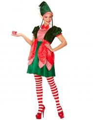 Süsser Weihnachtswichtel Damenkostüm grün-rot