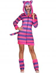Grinsekatze-Kostüm Märchenkostüm für Damen pink-lila