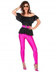 80er-Retrokostüm für Damen pink-schwarz