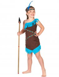 Süsse Indianer-Squaw Kinderkostüm braun-blau