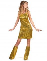Disco-Damenkostüm 70er-Outfit mit Pailletten gold