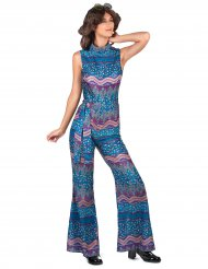 70er-Damenkostüm 70er-Outfit blau-lila