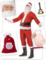 Weihnachtsmann-Kostümset 11-teilig rot-weiss
