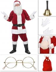 Hochwertiges Weihnachtsmann-Kostümset 10-teilig rot-weiss