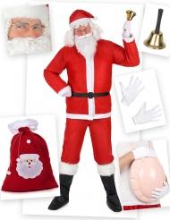 Weihnachtsmann-Kostüm mit Zubehör rot-weiss