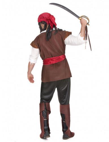 Verruchter Pirat Kostüm Freibeuter Plus Size braun-weiss-rot-1