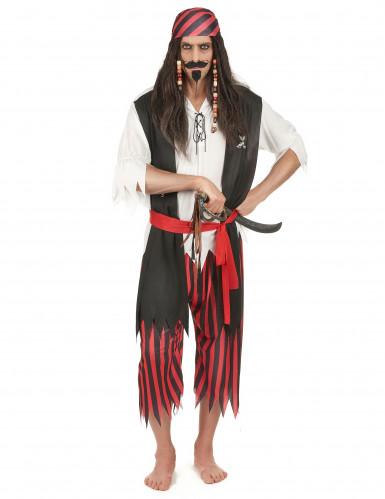 Seeräuber Kostüm Pirat schwarz-rot-weiss