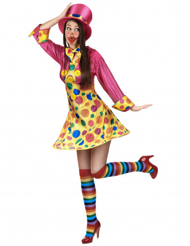 Süsse Clown-Frau Damenkostüm Zirkus gelb-pink-bunt-1