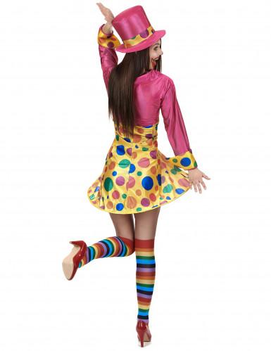 Süsse Clown-Frau Damenkostüm Zirkus gelb-pink-bunt-2