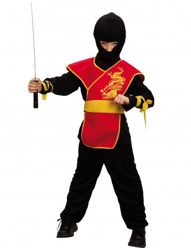 Ninja Kinderkostüm Asia-Krieger schwarz-rot