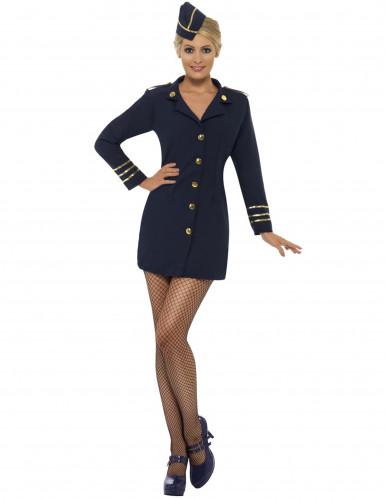 Stewardess Damenkostüm Flugbegleiterin blau-gold