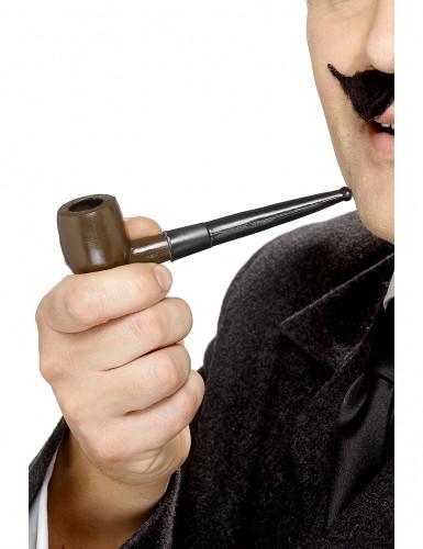Pfeife Detektiv Kostümzubehör braun-schwarz 13cm