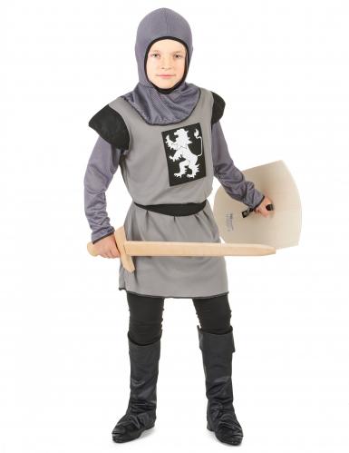 Mittelalterlicher Ritter Kinderkostüm grau-schwarz