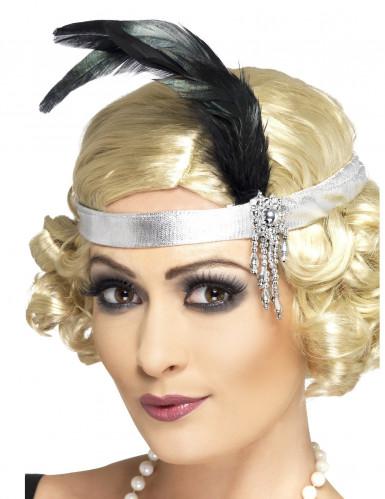 Showgirl Kopfband Karneval silber-schwarz