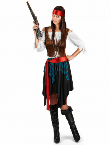 Verruchte Piratin Damenkostüm Freibeuterin Plus Size bunt