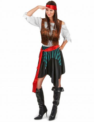 Verruchte Piratin Damenkostüm Freibeuterin Plus Size bunt-1