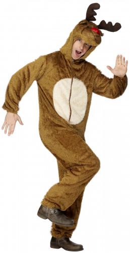 Rentier Jumpsuit-Kostüm Weihnachten braun-weiss