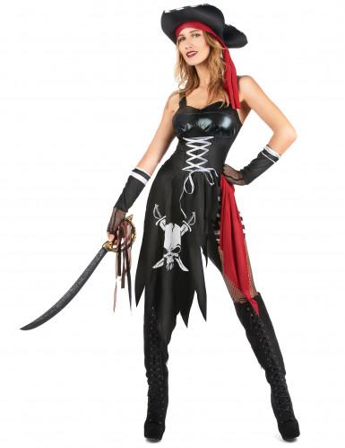 Heisse Freibeuterin Damenkostüm Piratin schwarz-weiss-rot