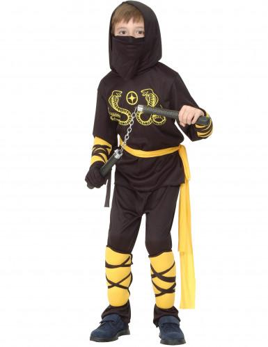Schwarz-gelbes Ninjakostüm für Kinder