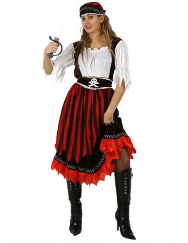 Verruchte Piratenbraut Damenkostüm Piratin Plus Size rot-schwarz