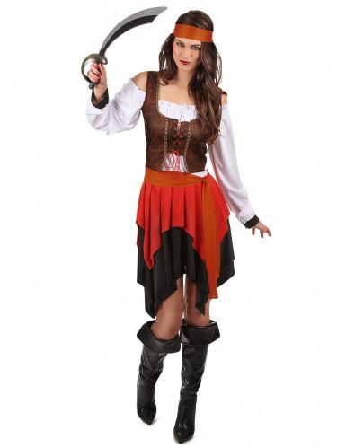 Heisse Piratin Damenkostüm Freibeuterin schwarz-weiss-braun