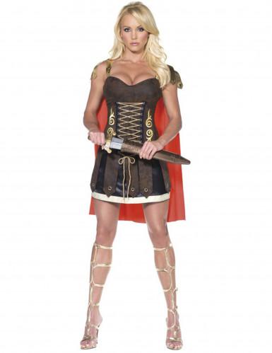 Sexy Gladiatorin Damenkostüm rot-braun