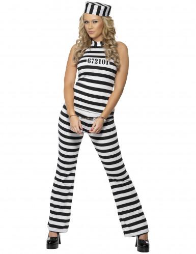 Gefängnis-Sträfling Damenkostüm schwarz-weiss