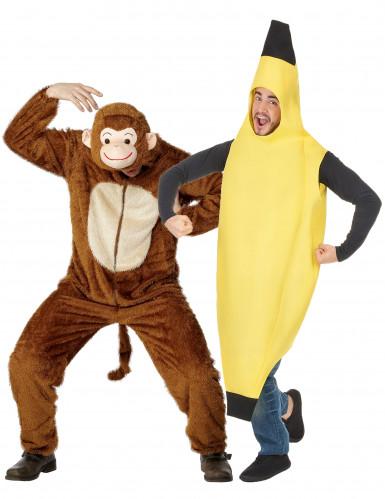 Affen- und Bananen-Paarkostüm für Erwachsene Fasching gelb-braun