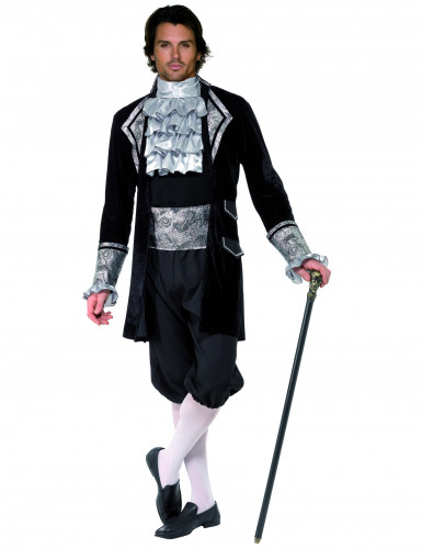 Barock Graf Vampir Kostüm schwarz-silber