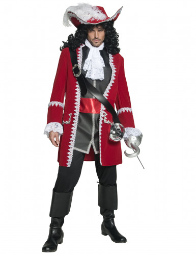 Edles Piratenkapitän-Kostüm Musketier-Kostüm rot-schwarz-weiss