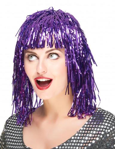 Folien-Perücke Lametta Damen-Perücke violett