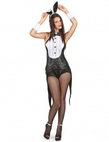 Sexy Häschen Damenkostüm schwarz-weiss