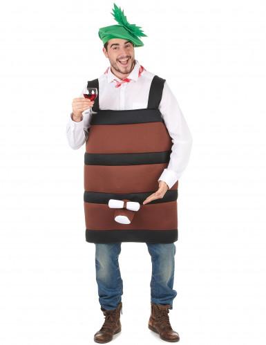 Weinfass-Herrenkostüm Weinliebhaber-Kostüm braun-schwarz-grün