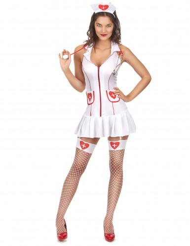 Sexy Krankenschwestern-Kostüm mit Herzen weiss-rot
