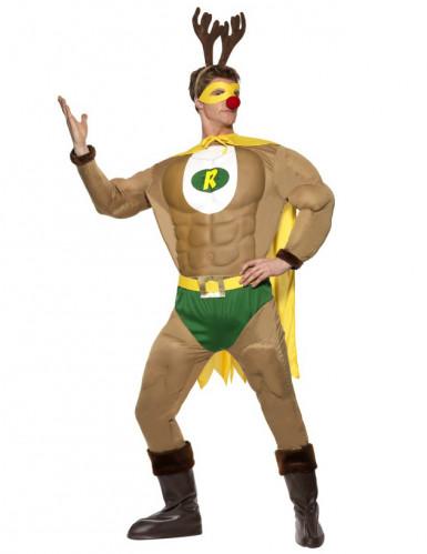 Superheld Rentier Kostüm Weihnachten braun-grün