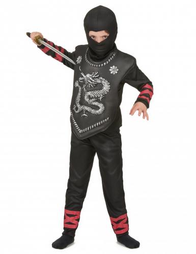 Kostüm eines Japanischen Ninja-Kämpfers mit Drachenemblem für Jungs