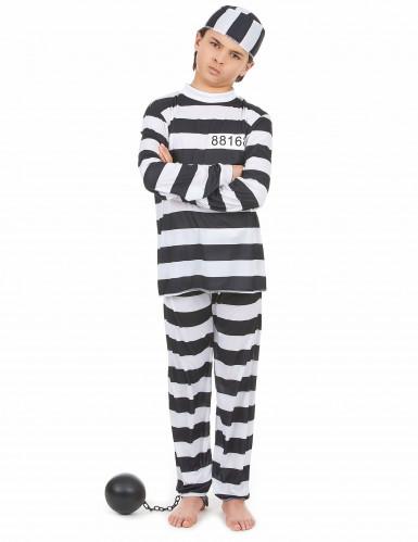 Sträflings-Kostüm für Kinder schwarz-weiss
