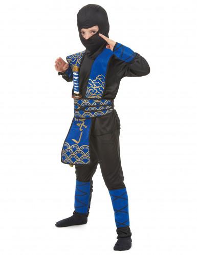 Gefährlicher Ninja Kinderkostüm Krieger schwarz-blau-1