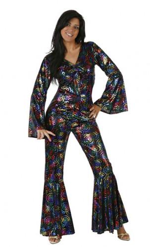 70er Jahre Disco-Overall Damenkostüm schwarz-bunt
