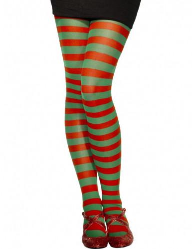 Wichtel-Strumpfhose Weihnachtsaccessoire rot-grün
